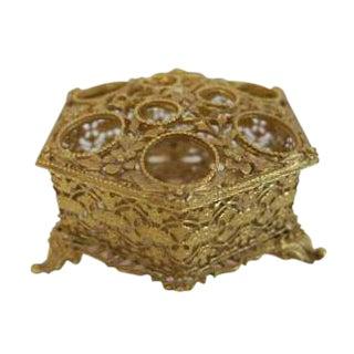 Vintage Gold Footed Vanity Lipstick Makeup Holder Box