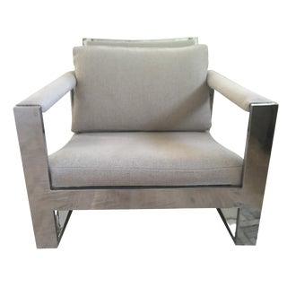 Vintage Belgian Linen & Chrome Chair