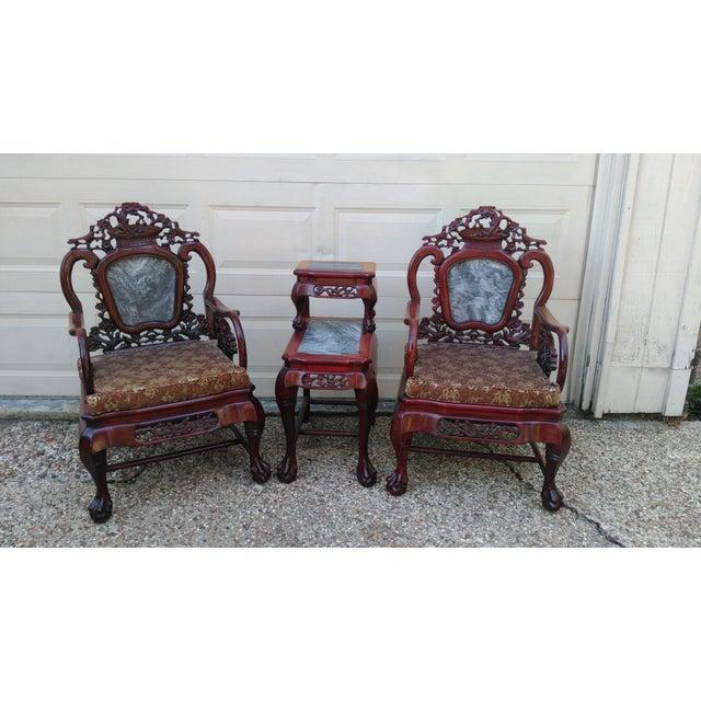Chinese Carved Solid Rosewood Marble Back Armchairs - a Pair - Image 9 of 9