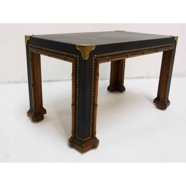 Image of Drexel Faux Bamboo Leather Top Side Table