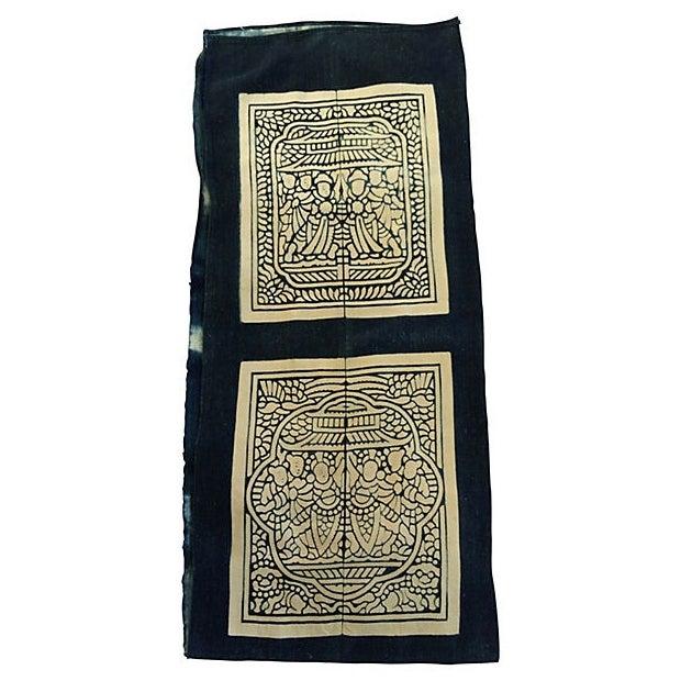 Hand-Blocked Chinese Indigo Story Panel Textile - Image 1 of 5