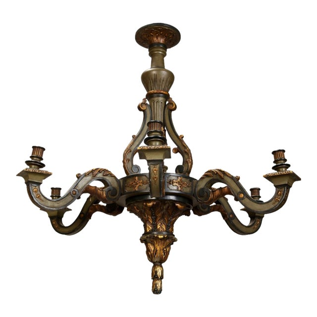 French Carved Wood Painted and Gilded Six-Light Chandelier, 1930's - Image 1 of 5