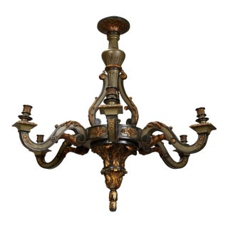 French Carved Wood Painted and Gilded Six-Light Chandelier, 1930's