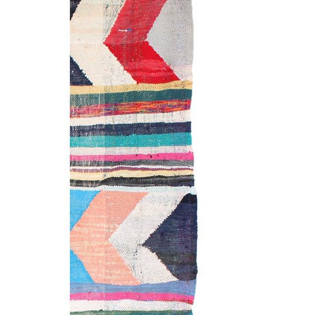 "Moroccan Kilim Boucherouite Rug - 4'9"" X 10'8"" - Image 3 of 6"
