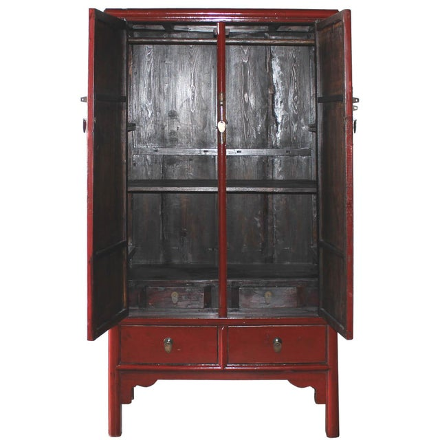 Vintage Chinese Red Lacquer Armoire Wardrobe Chest - Image 3 of 6