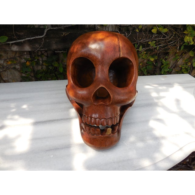 Contemporary Wood Skull - Image 3 of 7