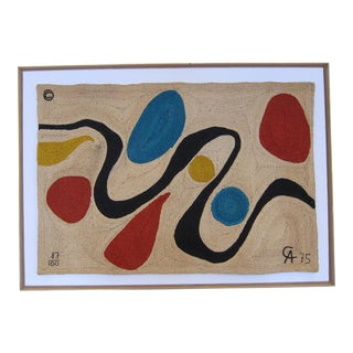 """Large """"Turquoise"""" Tapestry, in the style of Alexander Calder"""