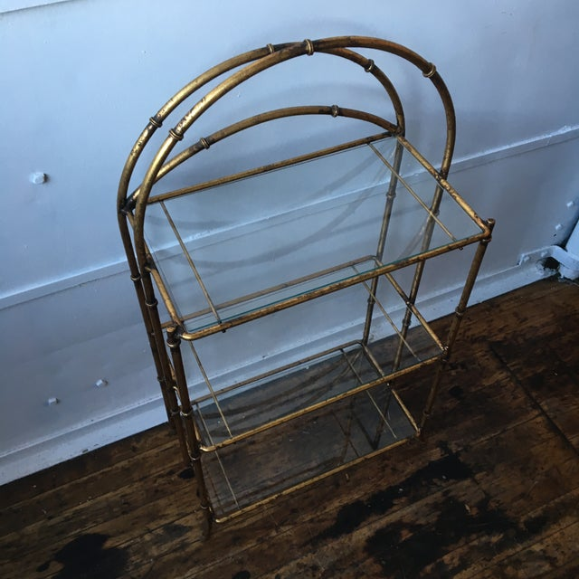 Gold Faux Bamboo Three Tiered Shelf - Image 7 of 7