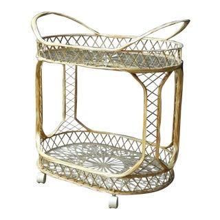 Hollywood Regency Russel Woodard Spun Fiberglass Rolling Bar Cart