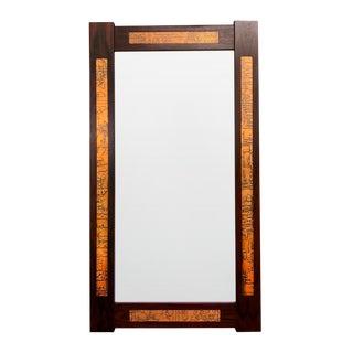 Danish Mid-Century Teak Mirror with Copper Inlays