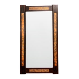 Danish Mid-Century Teak Mirror with Copper Inlays