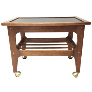 Walnut & Brass Mid-Century Bar Cart