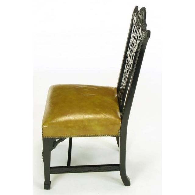 Eight Chinese Chippendale Ebonized Mahogany Dining Chairs with Leather Seats - Image 4 of 9