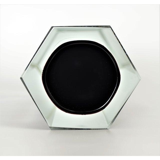 Mandruzzato Italian Murano Sommerso Black & Silver Glass Vase Mid-Century Modern MCM Venetian Venini Millennial - Image 8 of 11