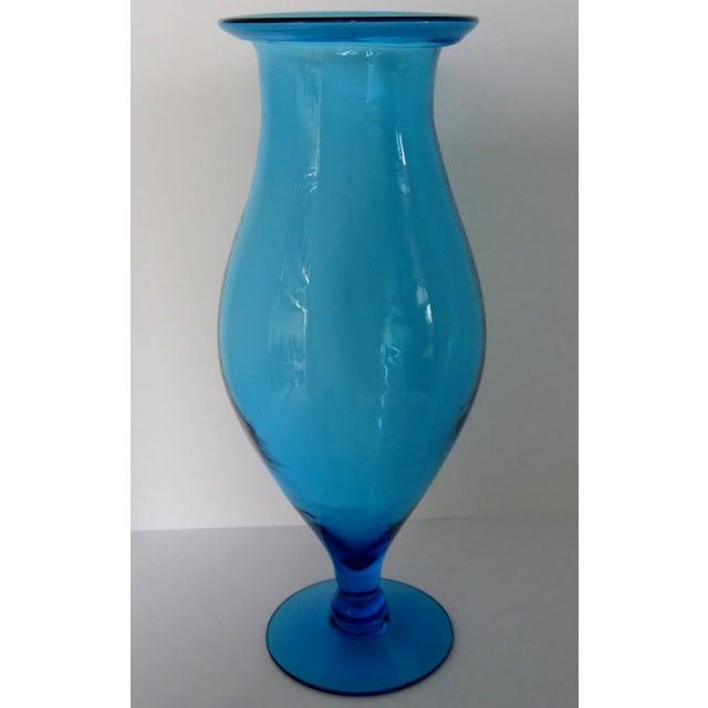 Blenko Turquoise Goblet Vase - Image 2 of 5