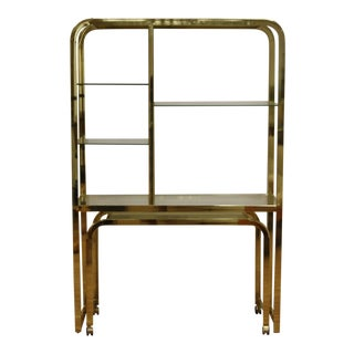 Vintage Brass Finish Etagere Desk