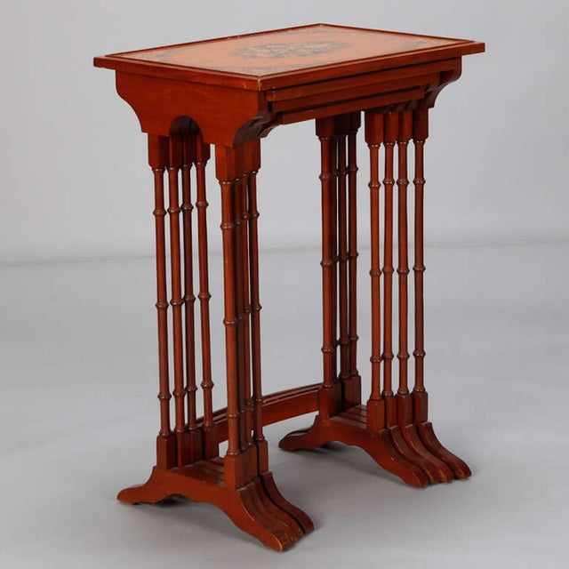 English Adam Style Painted Nesting Tables - S/4 - Image 4 of 10