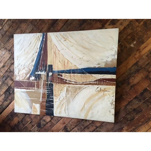 Vintage 1970's Bridge and Seagulls Painting - Image 3 of 4
