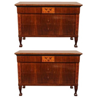 Pair of Beautifully Veneered, Tuscan Commodes