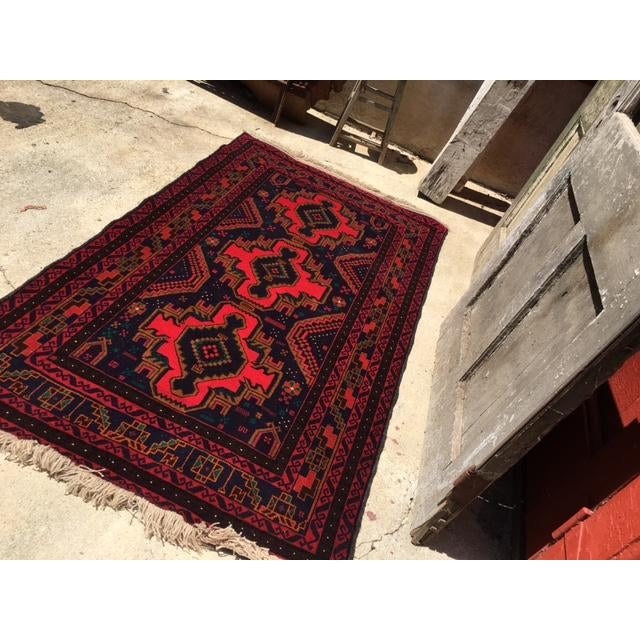 Fringed Blue And Red Persian Rug From Nepal