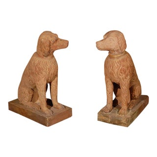 Pair of Left and Right Terracotta Poodle Statues