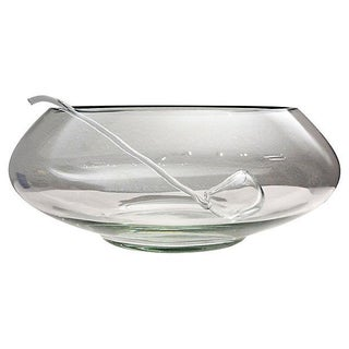 Atomic Mid-Century Glass Punch Bowl withLadle