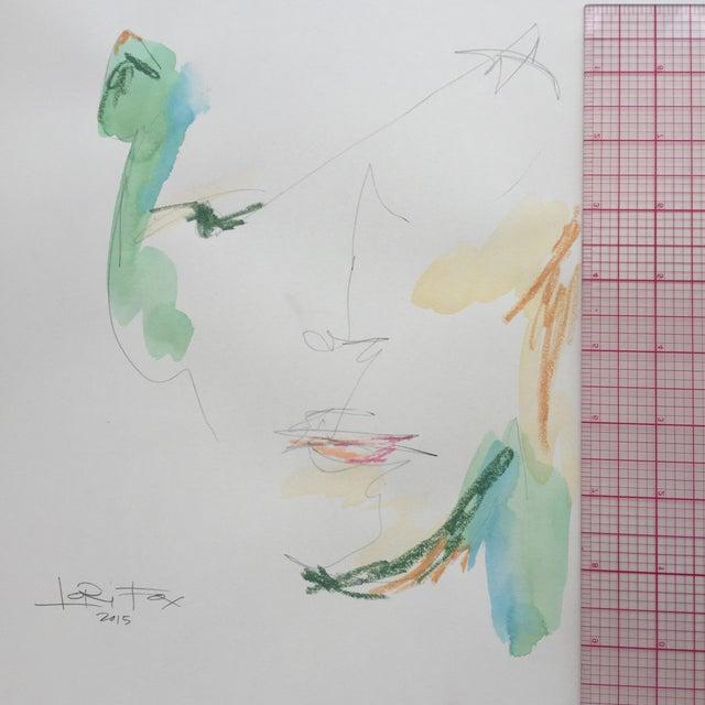 Lori Fox Watercolor & Oil Pastel Painting - Image 5 of 5