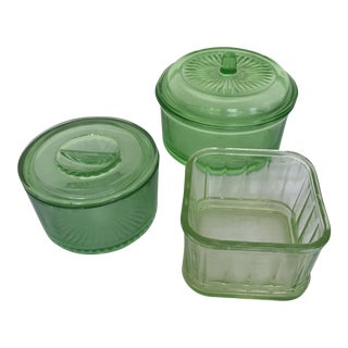 Green Depression Glass Collection - Set of 3