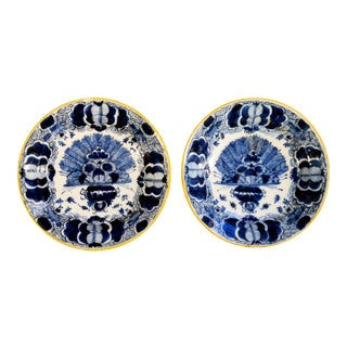 Dutch Delft Peacock or Fan Pattern Dishes - A Pair