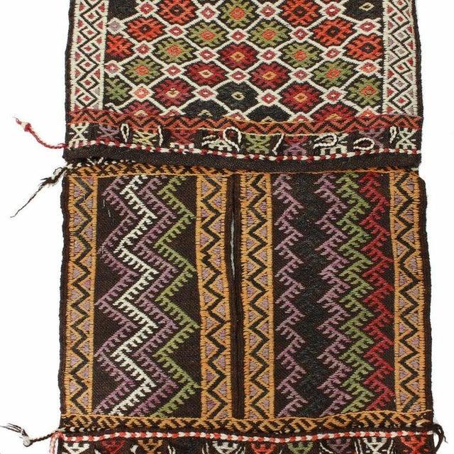 Red and Black Vintage Turkish Cicim Saddlebag - Image 2 of 3
