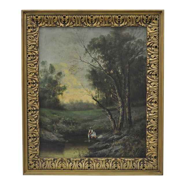 Image of 19th Century Forested Landscape Oil Painting