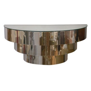 Chrome Deco Style Wall Mount Console W Mirror Top
