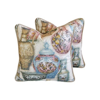 Karen Holzman for Robert Allen Chinoiserie Vase Pillows- A Pair