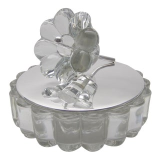Deco Heisey Glass Candy Dish with Flower