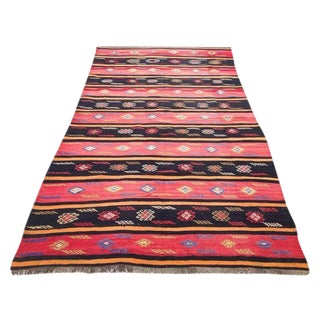 Vintage Turkish Kilim Rug - 5′2″ × 9′5″