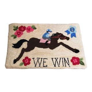 Horse Racing Hand Hooked Wool Rug - 1′5″ × 2′4″