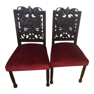 Vintage Red Velvet and Carved Wood Chairs - a Pair