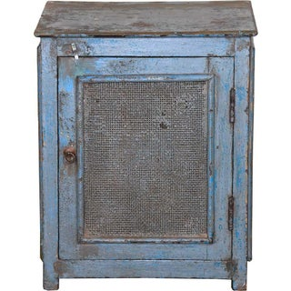 Grayish Blue Mesh Door Cabinet