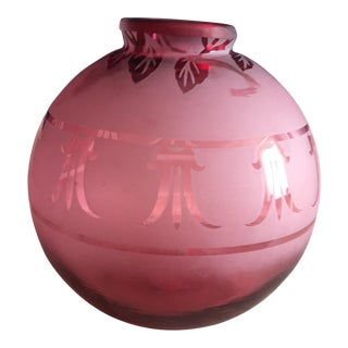 Etched Cranberry Glass Vase