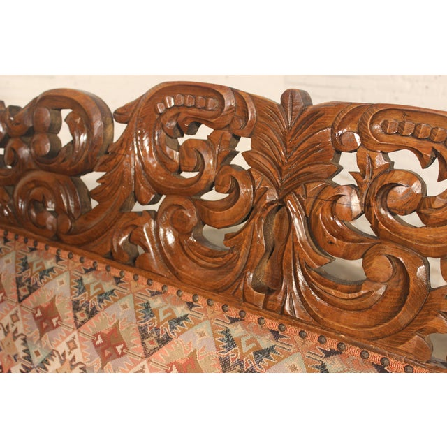 Spanish Carved Pine Bench - Image 6 of 10
