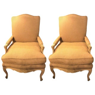 Burlap Upholstery & Painted Framed Armchairs - A Pair