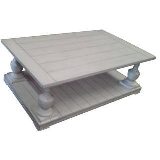 Oversize Antiqued White Coffee Table
