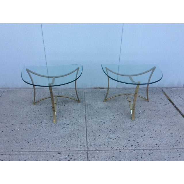 1970's Modern Demi Lune Brass Side Tables - Image 2 of 11