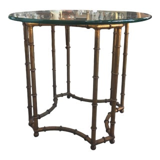Hollywood Regency Brass & Glass Occasional Table