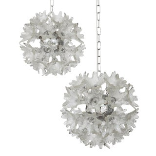 Italian Murano Glass Flower Sputnik Chandeliers - a Pair