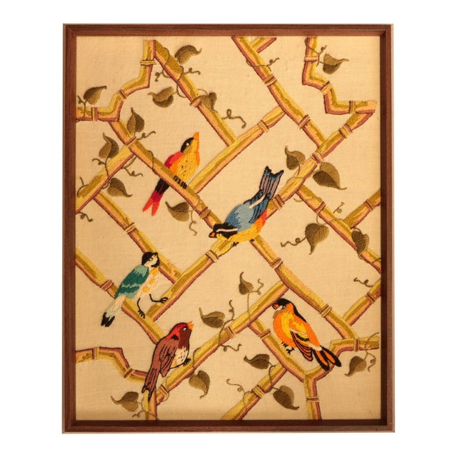 Songbirds on Bamboo Lattice - Framed Crewel Embroidery - Image 1 of 7