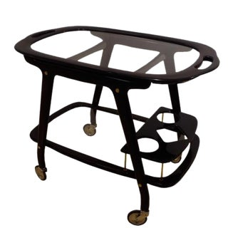 Ico Parisi Mid Century Bar Cart in Mahogany and Glass