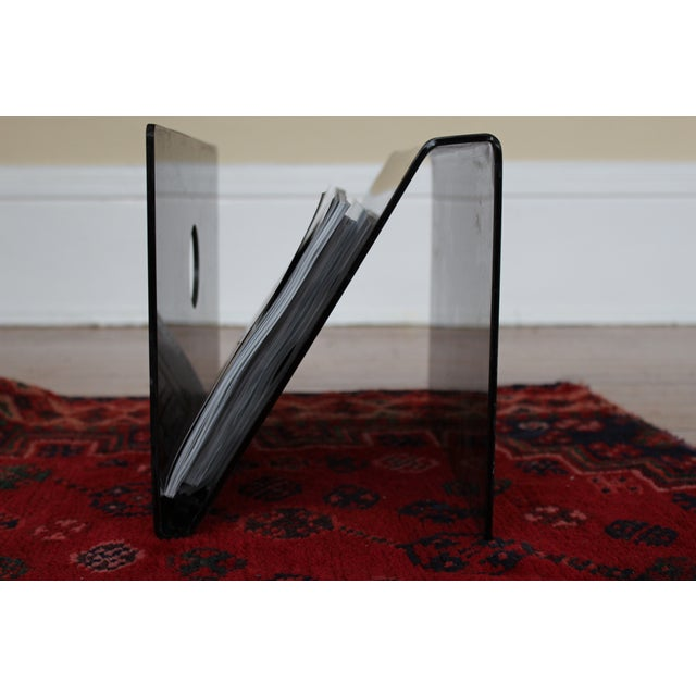 Mid Century Smoked Lucite Magazine Rack - Image 4 of 5