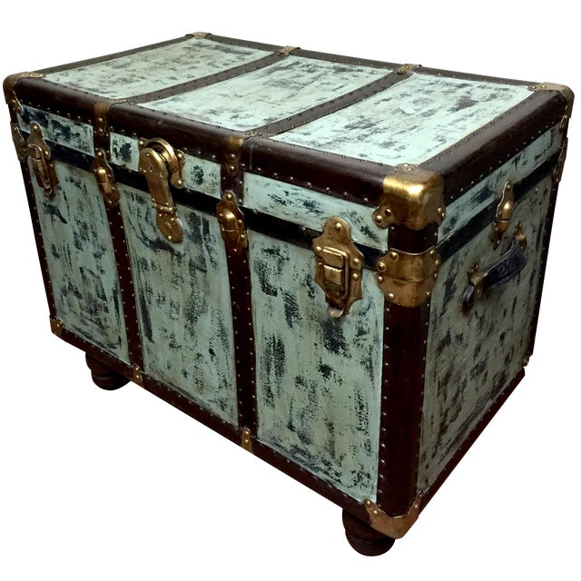 Vintage distressed trunk table chairish for 0co om cca 9 source table
