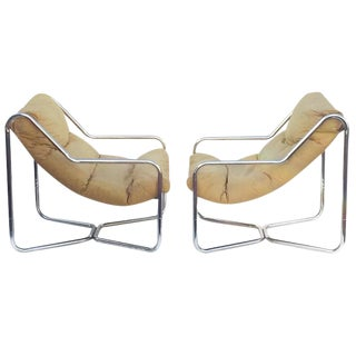 Vintage Chrome Sling Chairs Modern Club Chairs - a Pair